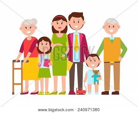 Family Poster Of Happy Members, Pregnant Mother, Smiling Father, Kids And Grandparents, Toys And Sch