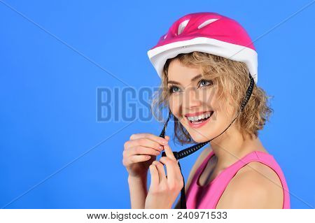 Beautiful Woman In Bicycle Helmet. Sportswoman In Protective Helmet. Healthy And Active Concept. Spo