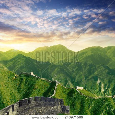 Chinese Wall With Wide Mountain View At Dawn