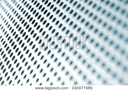 Abstract Circle Holes Steel Grid Background, Shifting Into Round Bokeh
