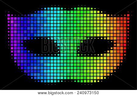 Pixel Bright Halftone Privacy Mask Icon Using Spectral Color Tones With Horizontal Gradient On A Bla