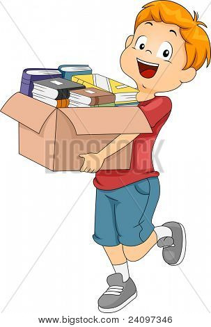 Illustration of a Kid Carrying a Box Full of Books for Donation or Organization