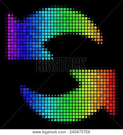 Pixel Bright Halftone Refresh Icon Using Spectrum Color Hues With Horizontal Gradient On A Black Bac