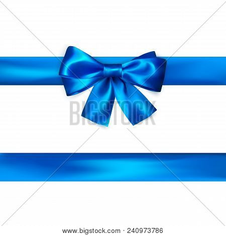 Blue Bow With Ribbon Isolated On White Background. Realistic Silk Bow. Decoration For Gifts And Pack