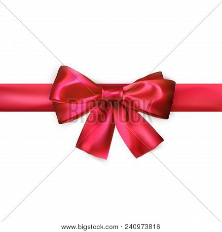 Red Bow With Ribbon Isolated On White Background. Realistic Silk Bow. Decoration For Gifts And Packi