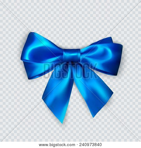 Blue Bow. Realistic Silk Bow. Decoration For Gifts And Packing Blue Bow. Vector Illustration Isolate