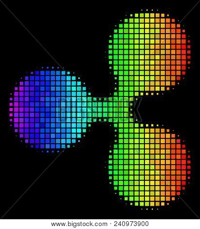 Pixel Colorful Halftone Ripple Currency Icon In Spectrum Color Tinges With Horizontal Gradient On A