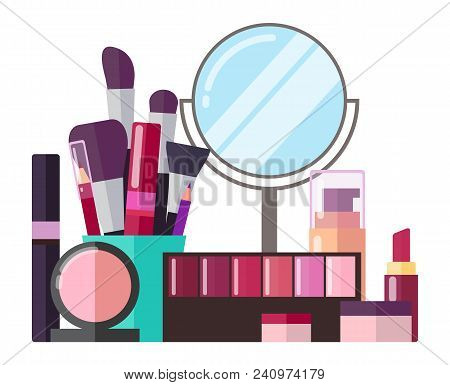 Decorative Cosmetics And Makeup Tools Set. Round Mirror, Eyeshadows Palette, Thick Brushes, Tubes Of