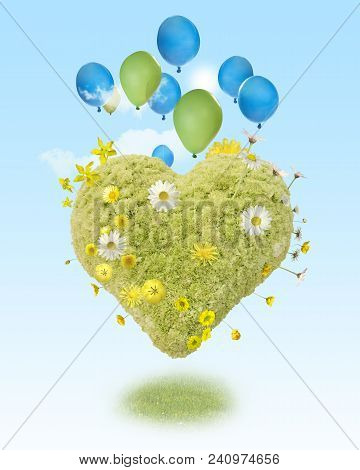 A Harmonic Composition Of Lightness, In Form Of A Green Heart, Hovering With Balloons And Small Toy
