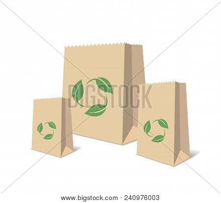 Recycling Paper Bags And Boxes. Realistic Blank Ecologic Craft Package. Illustration Of Recycled Bro