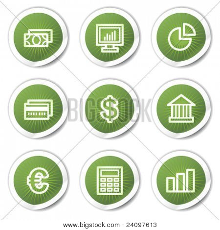 Finance web icons set 1, green  stickers