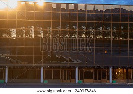Gomel, Belarus - May 14, 2018: The Building Of The Modern Sports Complex Of The Ice Palace At Dawn.