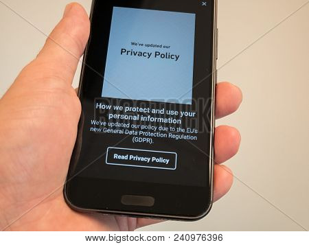 Melbourne, Australia - May 17, 2018: Gdrp Notice On A Mobile Phone. General Data Protection Regulati