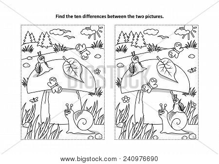 Find The Ten Differences Picture Puzzle And Coloring Page With Big Yummy Mushroom And Mom And Kids S