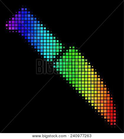 Dot Bright Halftone Surgery Knife Icon In Spectrum Color Tints With Horizontal Gradient On A Black B