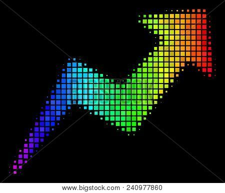 Pixelated Bright Halftone Trend Icon Using Rainbow Color Hues With Horizontal Gradient On A Black Ba