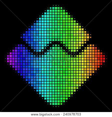 Dot Impressive Halftone Waves Currency Icon In Spectral Color Tinges With Horizontal Gradient On A B
