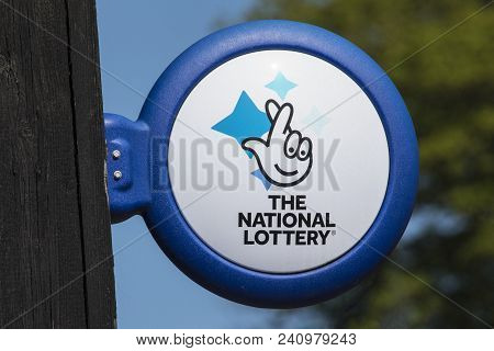 Arundel, Uk - May 5th 2018: Close-up Of The National Lottery Sign, On Display Outside A Newsagents I