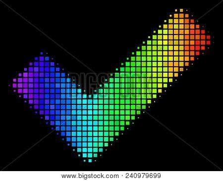 Pixel Impressive Halftone Yes Icon Drawn With Rainbow Color Tints With Horizontal Gradient On A Blac