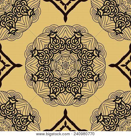 Vector Seamless Pattern Mandala Print.vintage Decorative Elements. Unique  Asian Background.arabic,