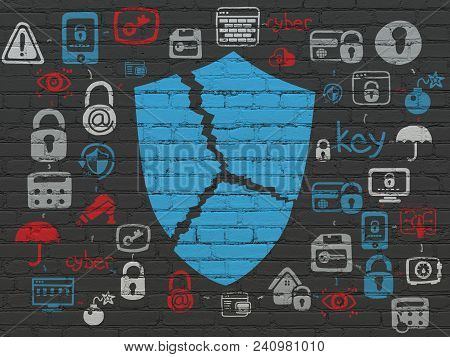 Protection Concept: Painted Blue Broken Shield Icon On Black Brick Wall Background With Scheme Of Ha