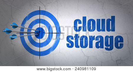 Success Safety Concept: Arrows Hitting The Center Of Target, Blue Cloud Storage On Wall Background,
