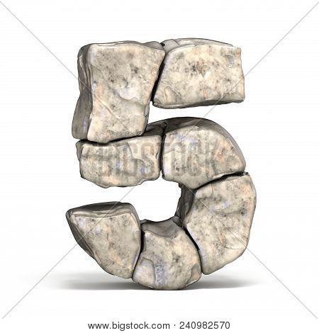 Stone Font Number 5 Five 3d Render Illustration On White Background