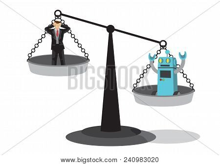 Human And Robot On The Weighting Scale. Depicts Automation, Future Job Market And Artificial Intelli