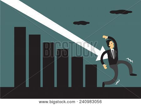 Businessman Attack By The Arrow Which Symbolise The Downfall Of The Market. Metaphor Of The Falling
