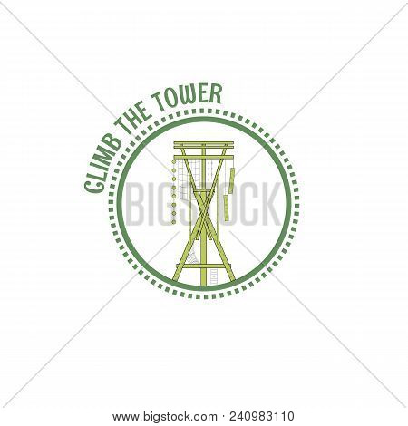 Alpine Tower Stamp. Line Art Style. Vector Illustration