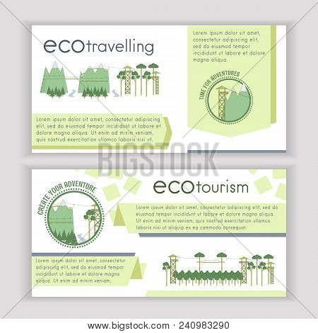 Set Of Ecotourism Template Banners. Vector Illustration.