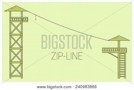 Zip Line. Adventure Rope Park Icon.  Vector Illustration