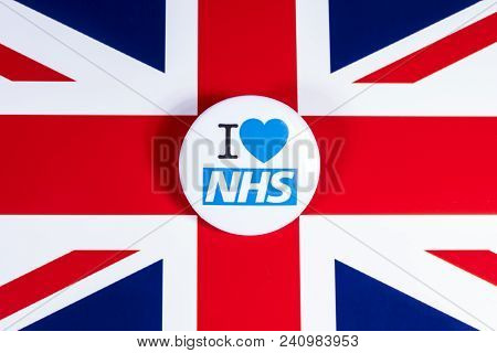 London, Uk - April 27th 2018: An I Love The Nhs Badge Over The Uk Flag, On 27th April 2018.  The The