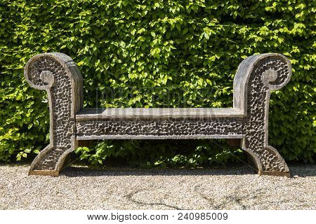 Arundel, Uk - May 5th 2018: A Carved Wooden Seat In One Of The Gardens At Arundel Castle In West Sus