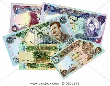Old Different Banknotes Of Iraq Isolated On White Background