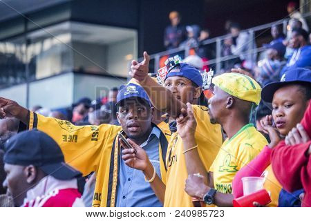 Cape Town, South Africa, 12 May 2018 - Diverse South African Football Supporters Questioning A Decis