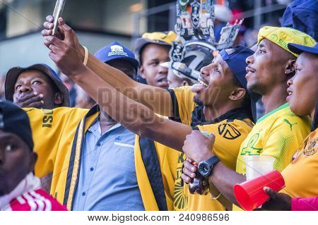 Cape Town, South Africa, 12 May 2018 - Diverse South African Football Supporters Taking A Selfie Dur