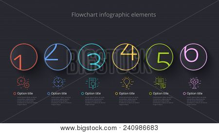 Business Process Chart Infographics With 6 Step Segments. Circular Corporate Timeline Infograph Elem