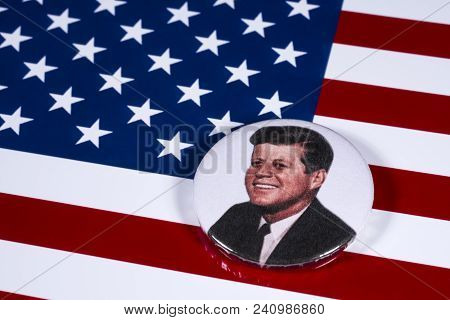 London, Uk - April 27th 2018: A John F. Kennedy Badge Pictured Over The Usa Flag, On 27th April 2018