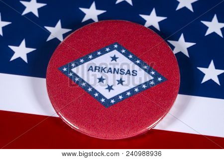 London, Uk - April 27th 2018: The Symbol Of The State Of Arkansas, Pictured Over The Flag Of The Uni