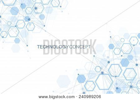 Hexagonal Geometric Background. Hexagons Genetic And Social Network. Future Geometric Template. Busi