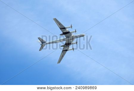 Moscow, Russia - May 9, 2018: Big Russian Military Turboprop Strategic Bomber-missile Tu-95 Bear In