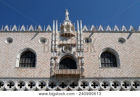 VENICE, ITALY - MAY 28: Doge`s Palace on Piazza San Marco, facade, Venice, Italy. The palace was the residence of the Doge of Venice, UNESCO World Heritage Site on May 28, 2017.