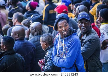 Cape Town, South Africa, 12 May 2018 - Diverse South African Football Supporters Looking Back During