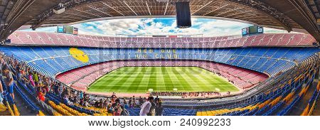 Barcelona - August 11: Panoramic Interior View Of Camp Nou Stadium, Home Of Fc Barcelona, Catalonia,