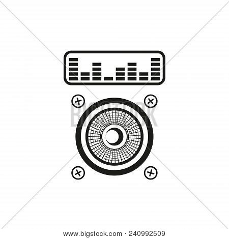 Black And White Outline Icon Of The Audio System Or Music