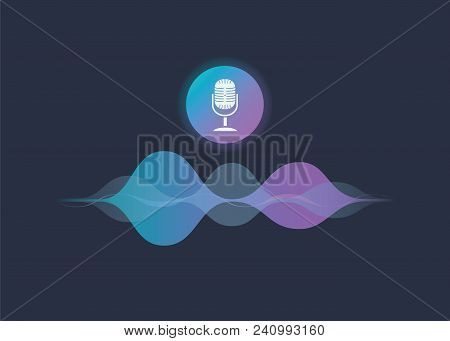 Personal Assistant And Voice Recognition Concept Gradient Vector Illustration Of Soundwave Intellige