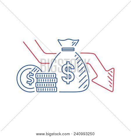 Money Loss Vector Illustration In Flat Cartoon Cash With Down Arrow Stocks Graph, Concept Of Financi