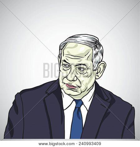Benjamin Netanyahu, Prime Minister Of Israel Caricature Illustration Portrait Vector Design, May 17,