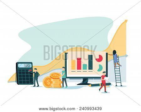 Vector Flat Illustration, Business Promotion, Take-off On The Career Ladder, Data Analysis And Inves